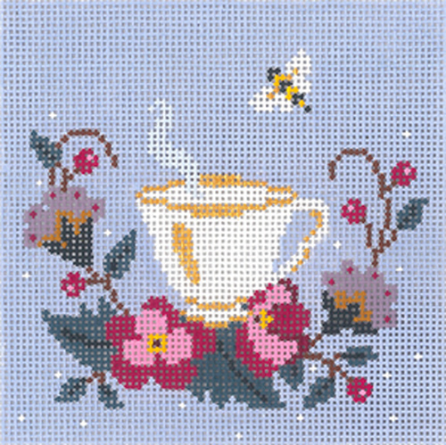 Tea and Bee Ornament Hand Painted Needlepoint Canvas from Abigail Cecile