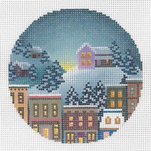 Winter House on the Hill Ornament Hand Painted Needlepoint Canvas from Abigail Cecile