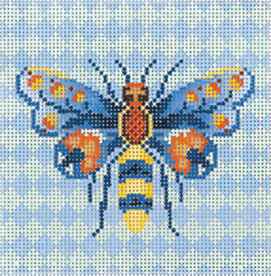 Florentine Bee Ornament Hand Painted Needlepoint Canvas from Abigail Cecile