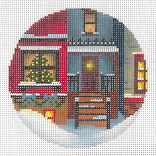 Christmas Eve Town #2 Ornament Hand Painted Needlepoint Canvas from Abigail Cecile