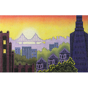 Rooftops of San Francisco Postcard Hand Painted Needlepoint Canvas from Abigail Cecile