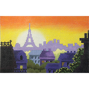 Rooftops of Paris Postcard Hand Painted Needlepoint Canvas from Abigail Cecile