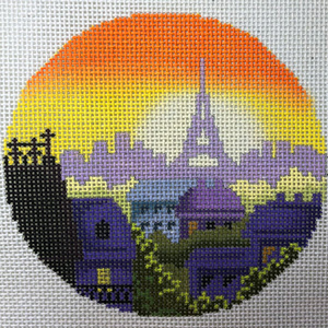 Rooftops of Paris Ornament Hand Painted Needlepoint Canvas from Abigail Cecile