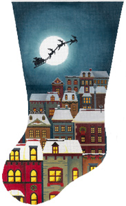 Christmas Eve Town Stocking Hand Painted Needlepoint Canvas from Abigail Cecile