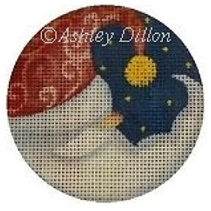 Moon Santa Hand-painted Christmas Ornament Canvas from Ashley Dillon
