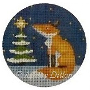 Fox at Tree Hand-painted Christmas Ornament Canvas from Ashley Dillon
