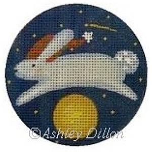Moon Rabbit Hand-painted Christmas Ornament Canvas from Ashley Dillon