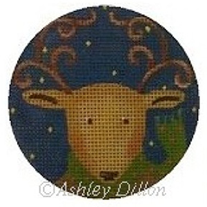 Reindeer Hand-painted Christmas Ornament Canvas from Ashley Dillon
