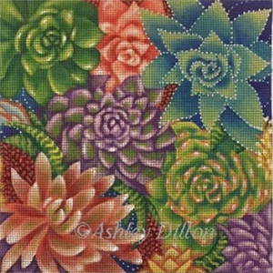 Succulents Hand Painted Needlepoint Canvas by Ashley Dillon