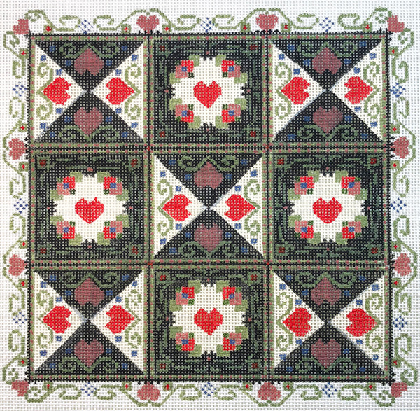 Liz Goodrick-Dillon Hand Painted Needlepoint - Hearts in Squares