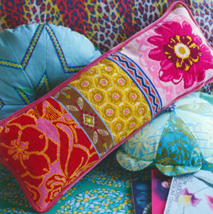 Floral Path Bolster Needlepoint Cushion Kit from the Anchor Living Collection