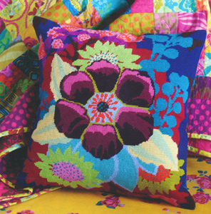 Floral Centre Needlepoint Cushion Kit from the Anchor Living Collection