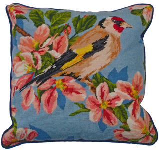 Gold Finch and Blossom Needlepoint Cushion Kit from the Anchor Living Collection