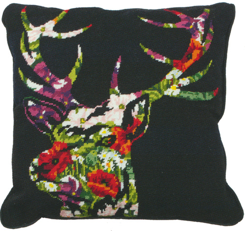 Stag Silhouette Needlepoint Cushion Kit from the Anchor Living Collection