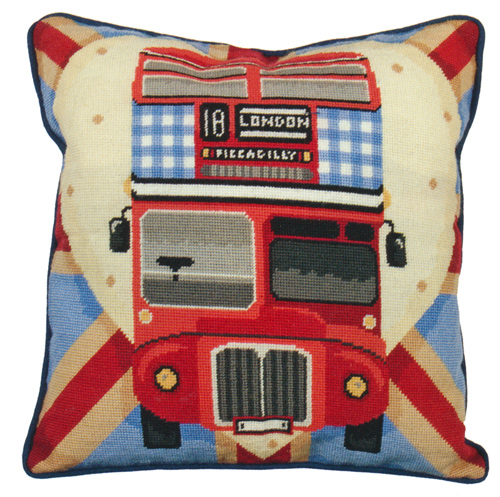Red Bus On Union Jack Needlepoint Cushion Kit from the Anchor Living Collection
