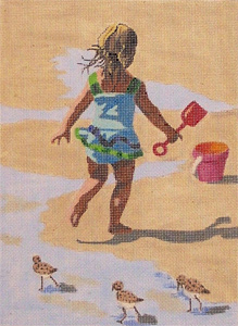 Girl at the Beach Hand-Painted Needlepoint Canvas by Annette