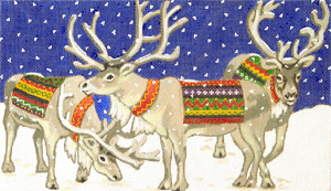 Three Reindeer Hand-Painted Needlepoint Canvas by Annette
