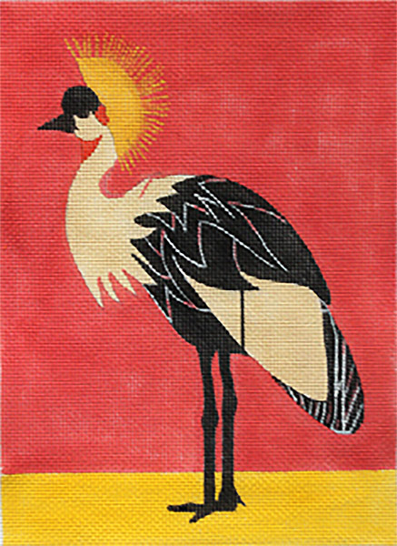 African Crowned Crane Hand-painted Needlepoint Canvas