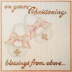 Ann Scott Designs - Blessings From Above Christening Hand Painted Needlepoint Canvas
