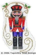 Nutcracker Needlepoint Mini Stocking