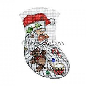 Santa & Toys Needlepoint Mini Stocking