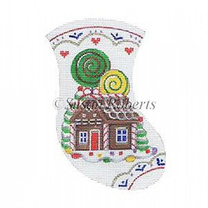 Gingerbread House Needlepoint Mini Stocking