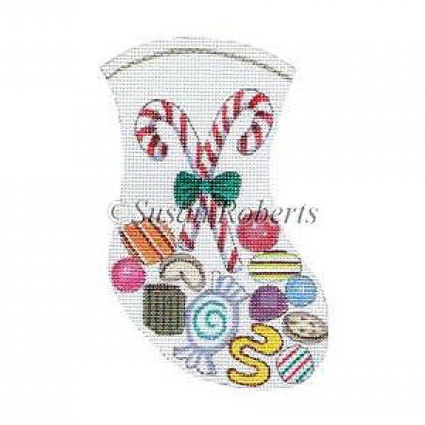 Christmas Candy Needlepoint Mini Stocking