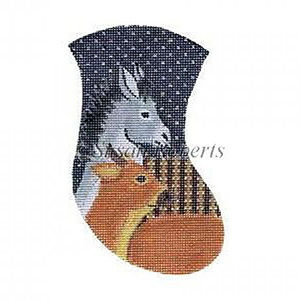 Donkey & Cow Needlepoint Mini Stocking