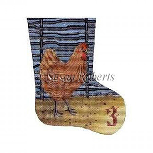 French Hen - Day 3 Needlepoint Canvas