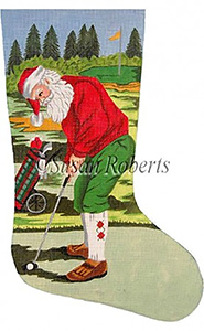 Santa Golfer - 13 count Needlepoint Stocking Canvas