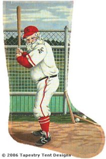 Baseball Santa Needlepoint Stocking Canvas