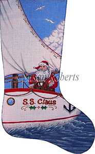 Santa Sailing Needlepoint Stocking Canvas
