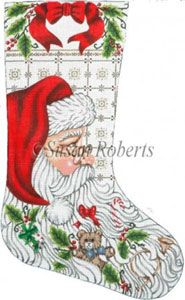 Santa and Toys Needlepoint Stocking Canvas