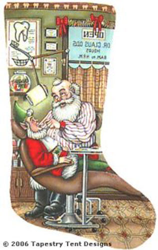 Santa Dentist Needlepoint Stocking Canvas
