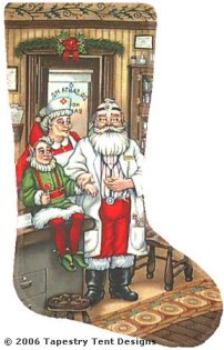Santa Doctor - 18 Count Needlepoint Stocking Canvas