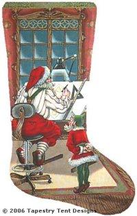 santa engineer needlepoint stocking canvas - Needlepoint Christmas Stocking Canvas