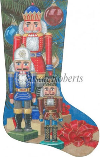 Nutcrackers and Packages - 18 Count Needlepoint Stocking Canvas