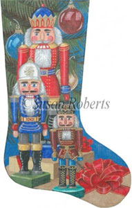 Nutcracker and Packages - 13 Count Needlepoint Stocking Canvas