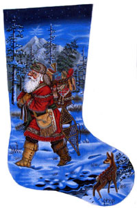 Santa Mountain Man Needlepoint Stocking Canvas
