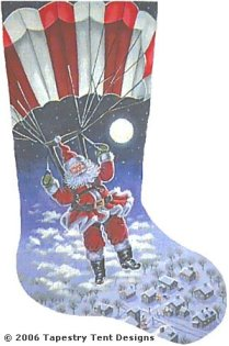 Santa Skydiver Needlepoint Stocking Canvas