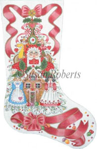Mrs. Santa and the Goodie Tree Needlepoint Stocking Canvas