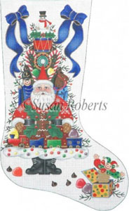 Santa and the Goodie Tree Needlepoint Stocking Canvas