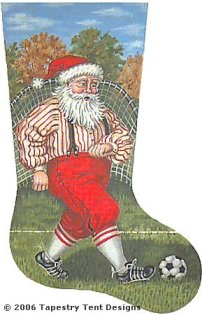 Soccer Santa - 13 Count Needlepoint Stocking Canvas