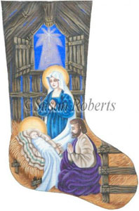 The Holy Family Needlepoint Stocking Canvas