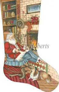 Cowboy Santa Needlepoint Stocking Canvas