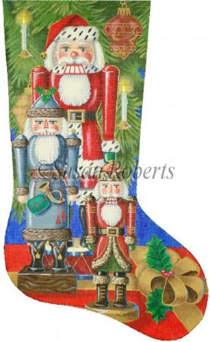 Santa Nutcrackers Needlepoint Stocking Canvas