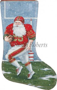 Football Santa - 13 Count Needlepoint Stocking Canvas
