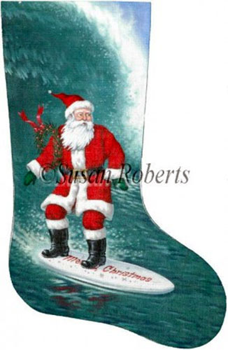 Santa Surfer Needlepoint Stocking Canvas