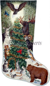 Woodland Animals Needlepoint Stocking Canvas