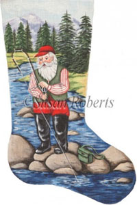 Santa Fishing in a Stream Needlepoint Stocking Canvas
